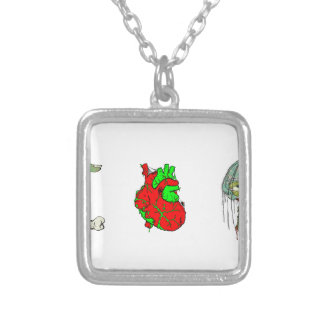 I Love Zombies!! Square Pendant Necklace