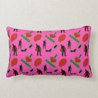 I Love Zombies on Pink pillow