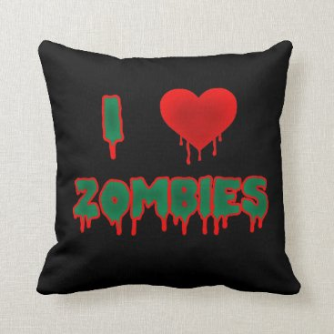Valentines Themed I Love Zombies Pillow