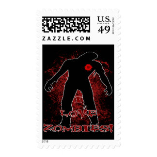 I LOVE ZOMBIES STAMP
