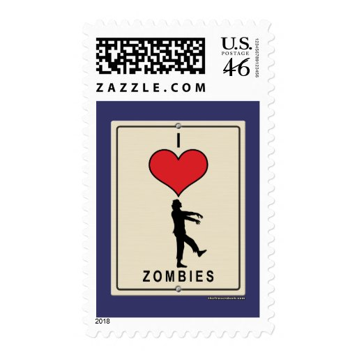 I Love Zombies Postage Stamp