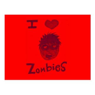 i love zombies postcard