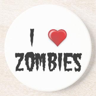 I Love Zombies Sandstone Coaster