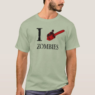 i love zombies shirt chainsaw