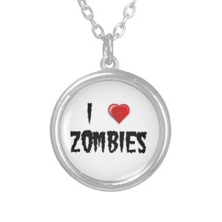 I Love Zombies Silver Plated Necklace