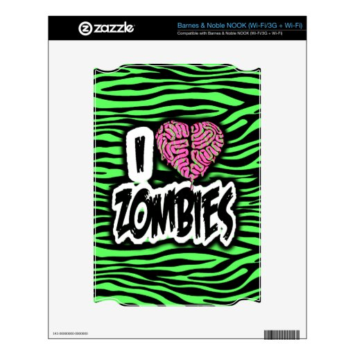 I Love Zombies Skin For The NOOK