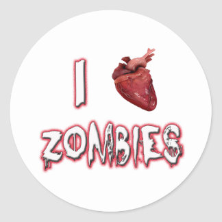 I Love Zombies Round Stickers