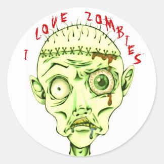 I love zombies round sticker