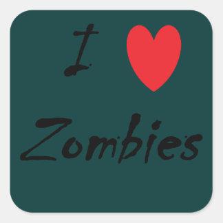 I Love Zombies Square Sticker