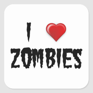 I Love Zombies Stickers