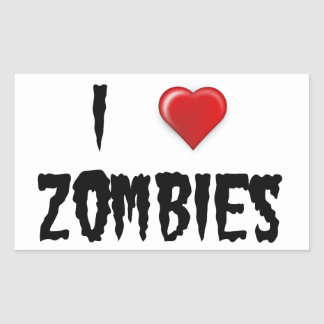 I Love Zombies Rectangular Sticker