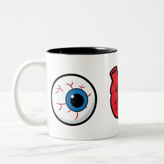 I Love Zombies Two-Tone Mug