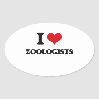 I love Zoologists Oval Sticker