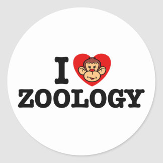 I Love Zoology Classic Round Sticker