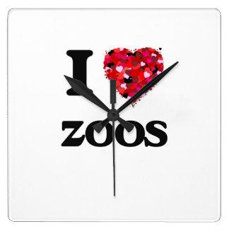 I love Zoos Square Wallclocks