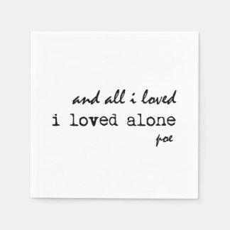 I Loved Alone Edgar Allan Poe Quote Paper Napkin