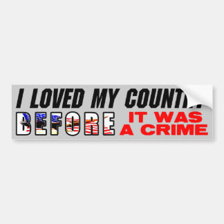 I Loved My Country Before It Was A Crime! Car Bumper Sticker