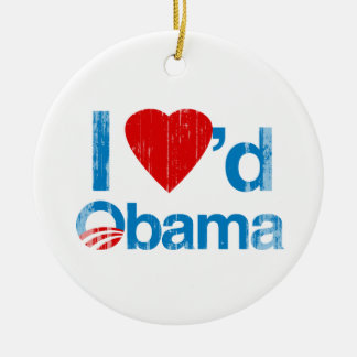 I Loved Obama Faded.png Double-Sided Ceramic Round Christmas Ornament