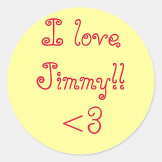 ¡I loveJimmy!! <3 Pegatina Redonda