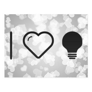 I luces del halógeno del corazón tarjetas postales