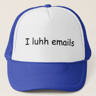 I luhh emails trucker hat