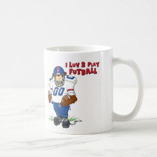 I Luv 2 Play Futball Bear Mugs
