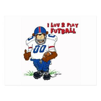 I Luv 2 Play Futball Bear Postcard