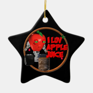 I Luv Apple Juice on 100+items by valxart.com Double-Sided Star Ceramic Christmas Ornament
