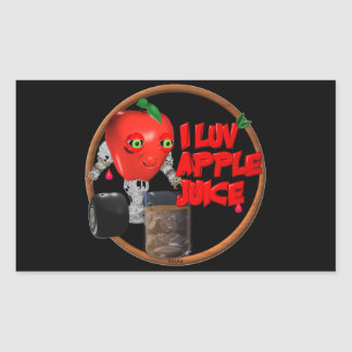 I Luv Apple Juice on 100+items by valxart.com Rectangular Sticker