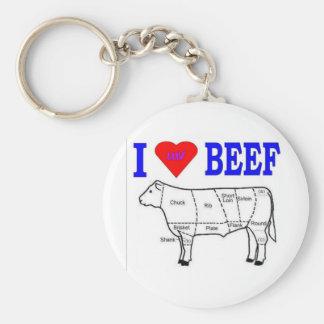 I LUV BEEF BASIC ROUND BUTTON KEYCHAIN