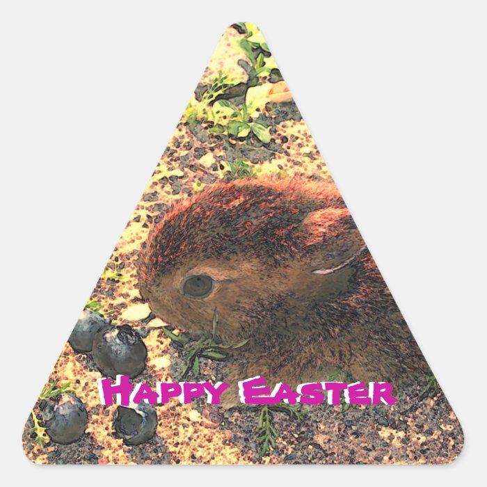 I LUV BUNNIES! Happy Easteri Triangle Sticker