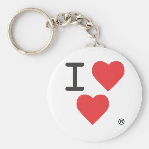 I Luv Heart Basic Round Button Keychain