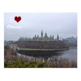 I luv Ottawa postcard of Parliament Hill