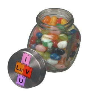 I LuV U candy gift romantic valentine Glass Jars