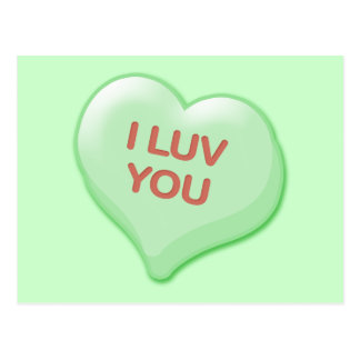 I Luv You Candy Heart Postcard