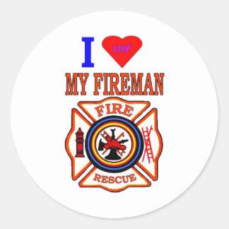 I LUY MY FIREMAN ROUND STICKERS
