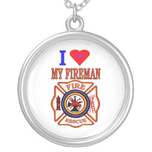I LUY MY FIREMAN SILVER PLATED NECKLACE