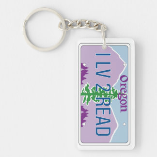 """I LV 2 READ"" License Plate Keychain"