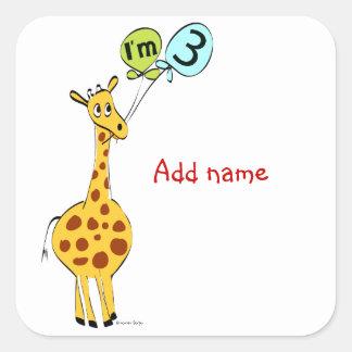 I m 3 3rd Birthday Square Sticker