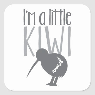 I m a little kiwi with cute New Zealand bird Square Stickers