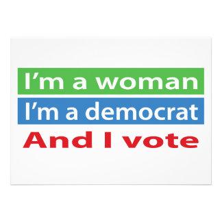 I m a Woman I m a Democrat and I Vote Custom Invites