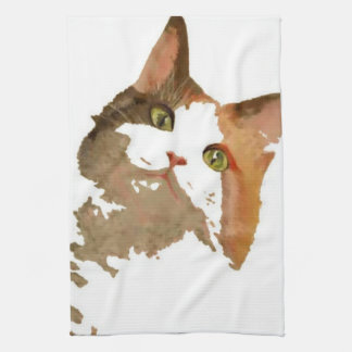 I'm All Ears – Cute Calico Cat Portrait Kitchen Towel