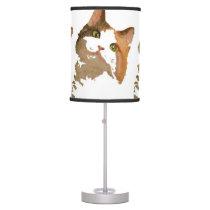 I'm All Ears – Cute Calico Cat Portrait Table Lamp