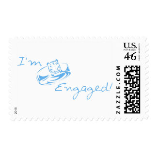 I m Engaged Blue Diamond Ring Postage Stamps