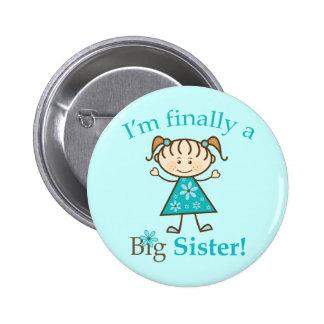 I m Finally a Big Sister Stick Figure Girl Pinback Buttons
