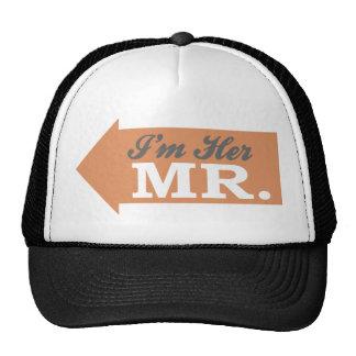 I m Her Mr Orange Arrow Mesh Hats