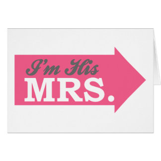 I m His Mrs Hot Pink Arrow Greeting Cards