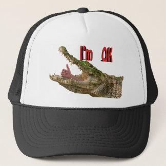 i,m ok croc trucker hat