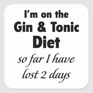 I'm On The Gin & Tonic Diet Square Sticker