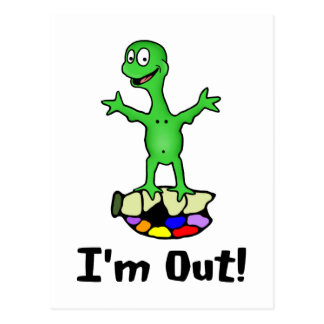 I'm Out Turtle Postcard